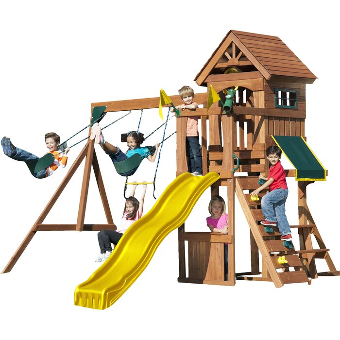 slides slide with play and mont picnic swings n rock set eagle product table two swing wall