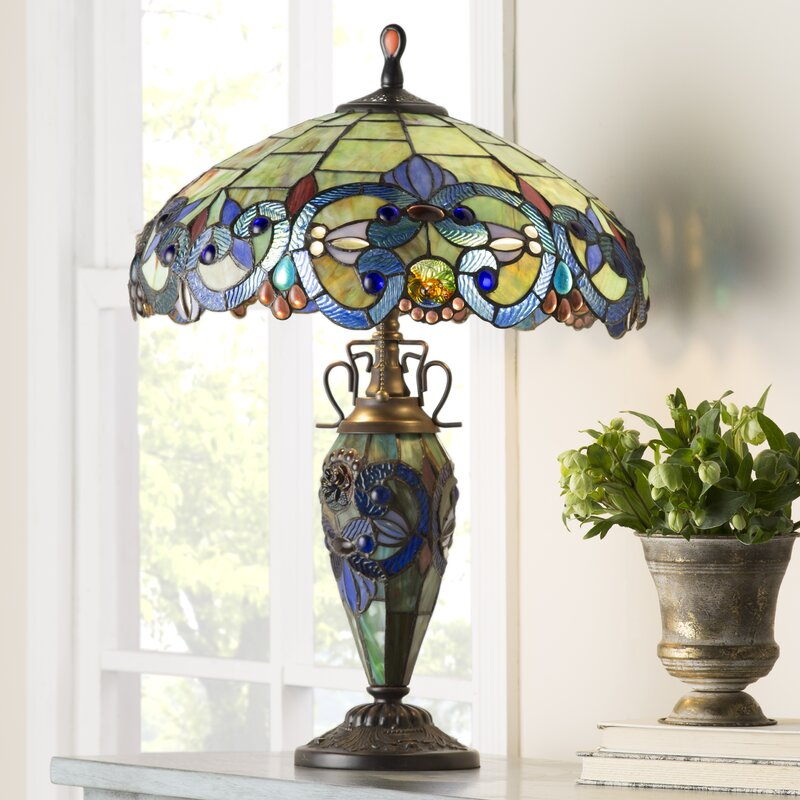 4110580c0734 Fleur De Lis Living Creel Victorian Tiffany Style Stained Glass Double Lit  26 Table Lamp   Reviews