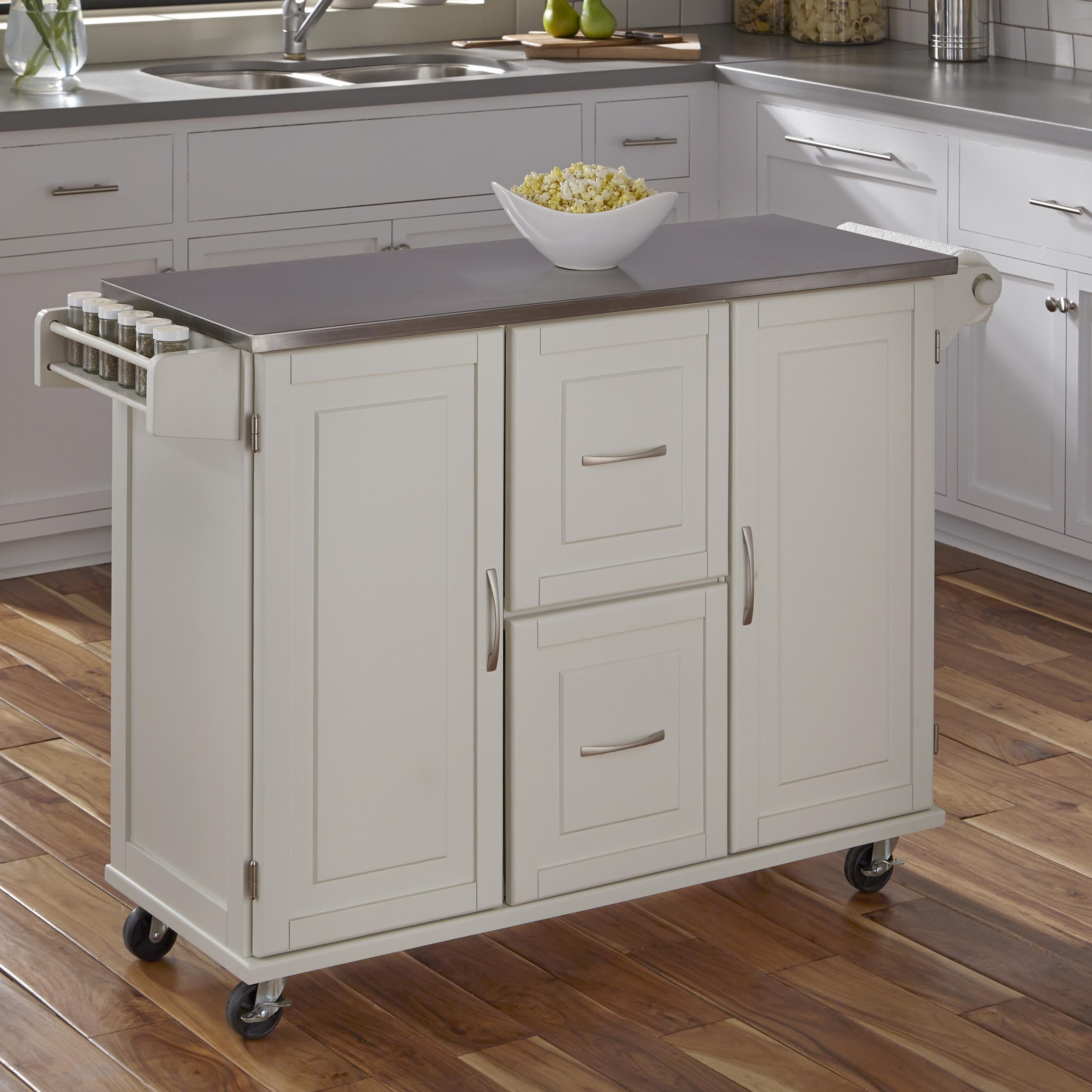 Red Barrel Studio Lomas Kitchen Island With Stainless Steel Reviews Wayfair