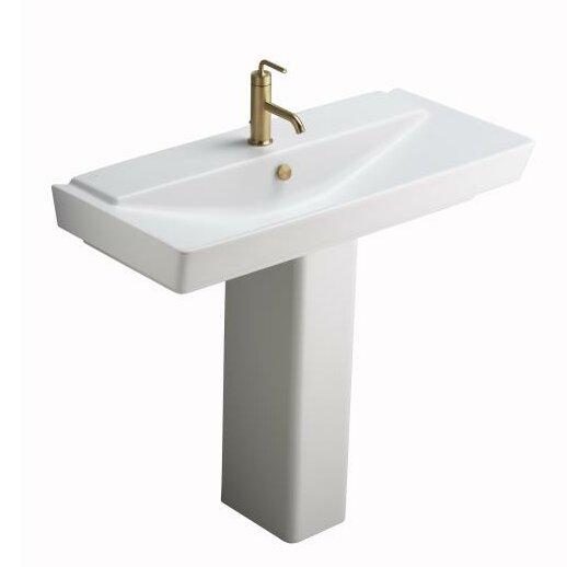 kohler reve ceramic pedestal bathroom sink with overflow