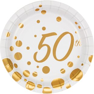 Sparkle and Shine Gold Foil 50th Anniversary Paper Appetizer Plate (Set of 24)