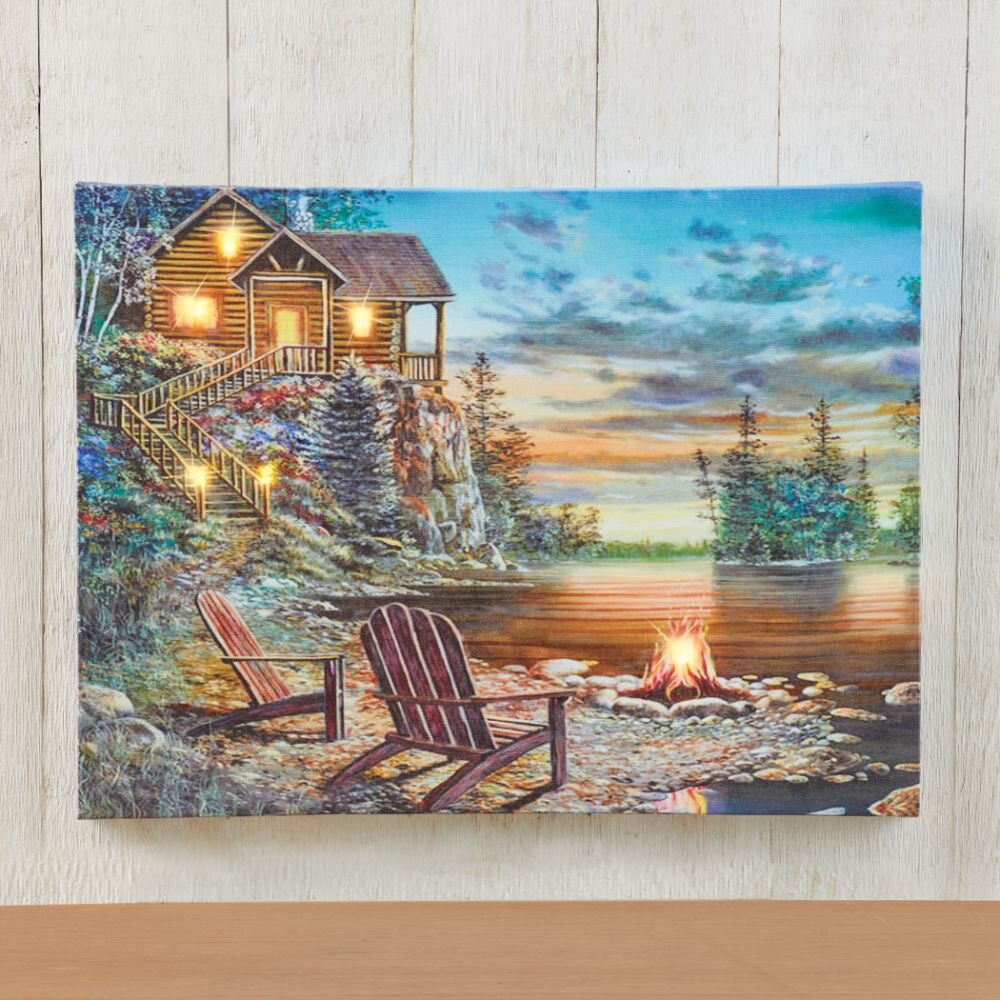 LED Nature Canvas Wall Art - Lighted Cabin on the Lake LED Canvas Wall Décor