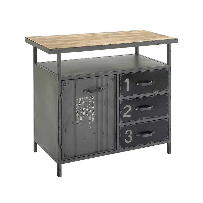 Superbe Hartland 1 Door 3 Drawer Metal And Wood Utility Accent Cabinet