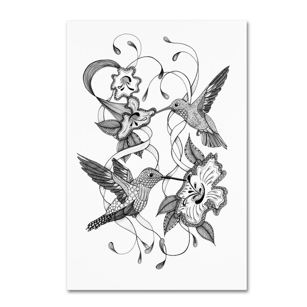 Trademark Art Hummingbirds Drawing Print On Wrapped Canvas