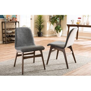Top Reviews Carrick Scandinavian Upholstered Dining Chair (Set of 2) by George Oliver