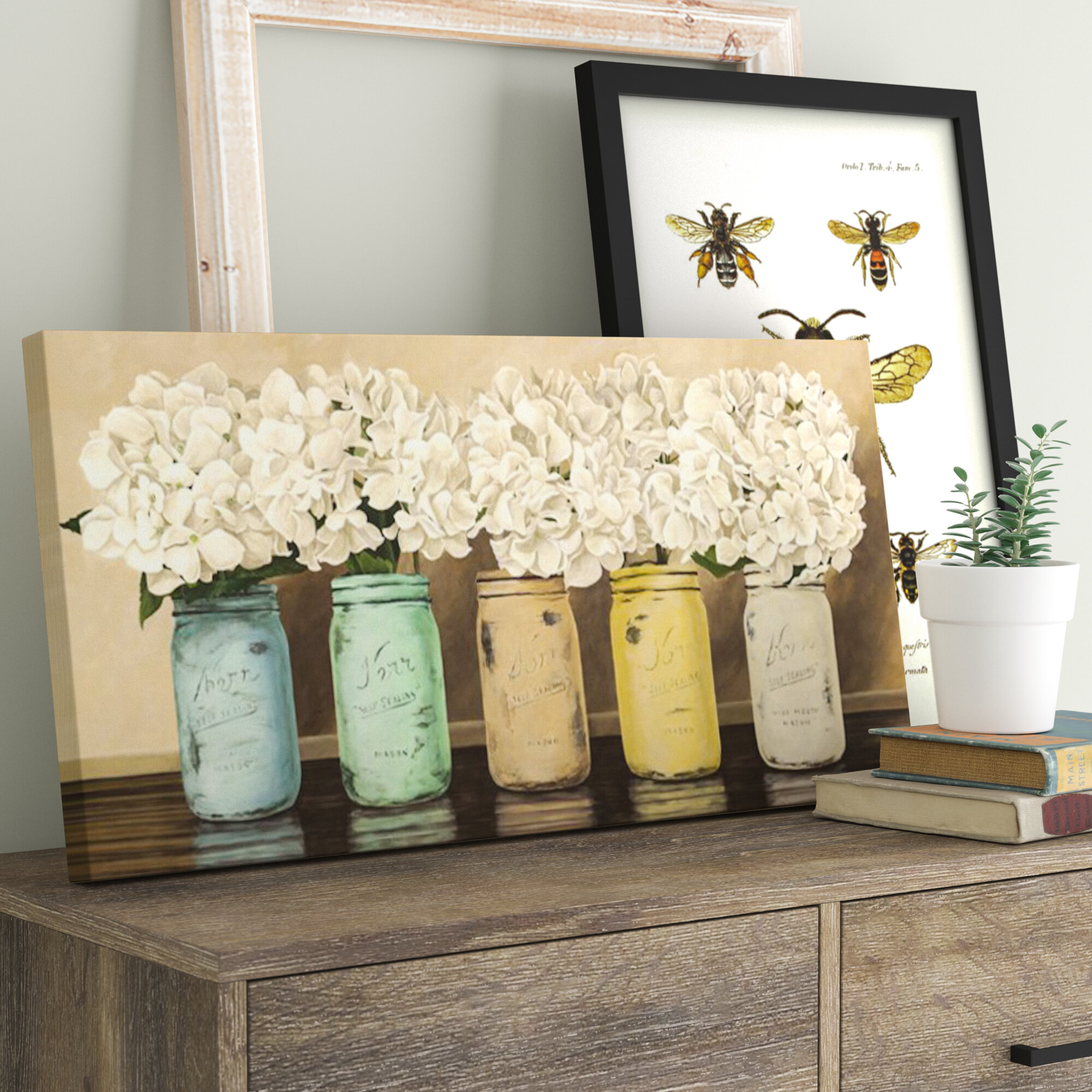 hydrangeas in mason jars painting print on wrapped canvas - 31+ Small Farmhouse Wall Decor PNG
