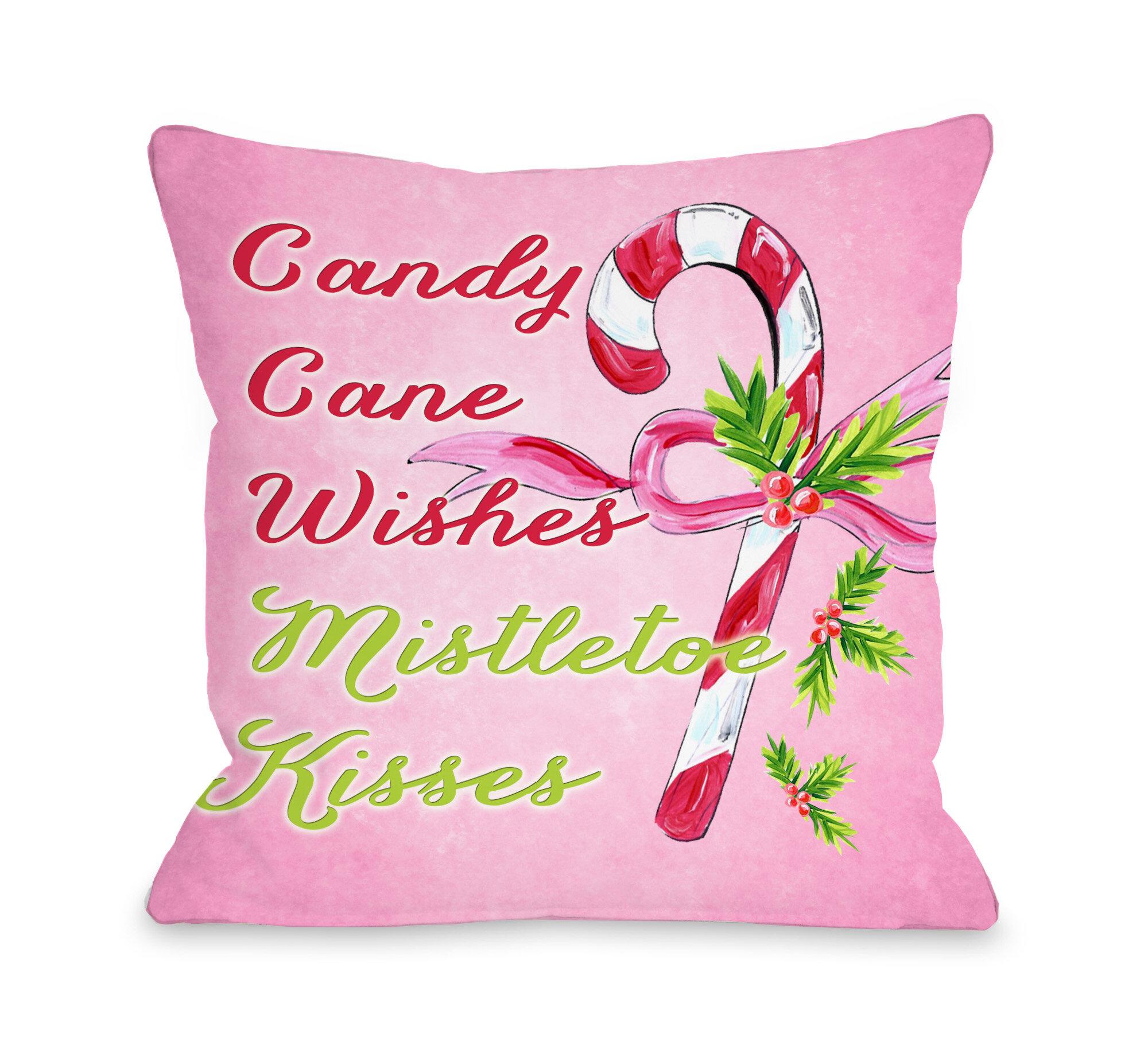 One Bella Casa Candy Cane Wishes Mistletoe Kisses Throw Pillow Reviews Wayfair