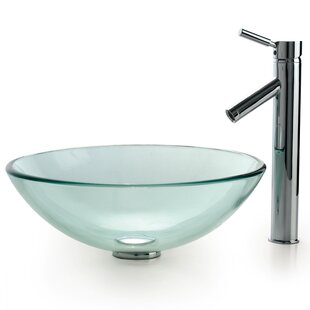 Best Reviews Clear Glass Glass Circular Vessel Bathroom Sink with Faucet By Kraus