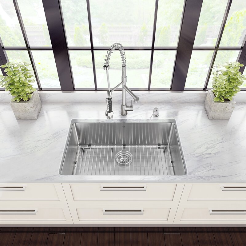 Medium image of 32 inch undermount single bowl 16 gauge stainless steel kitchen sink with zurich chrome faucet