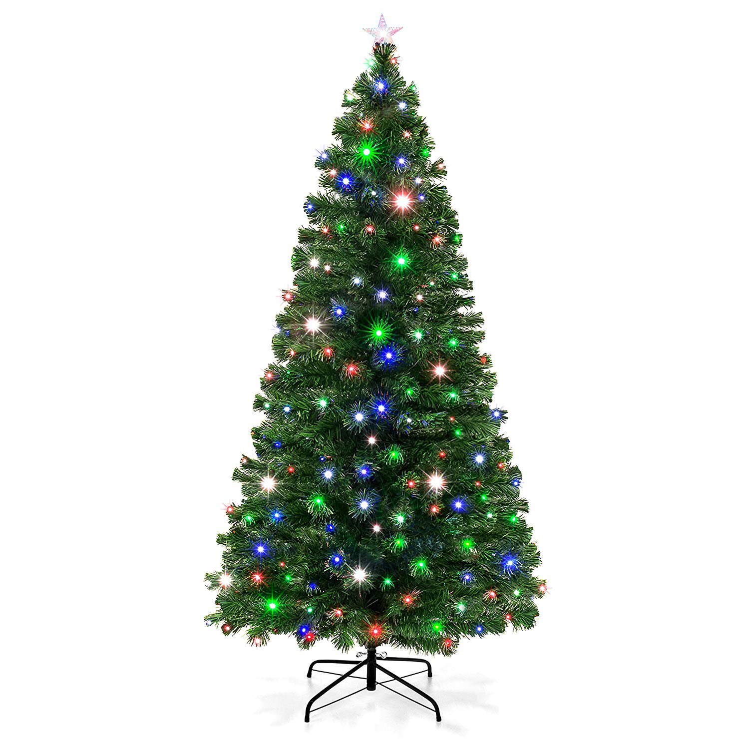 The Holiday Aisle Green Fir Artificial Christmas Tree With Multi Color Lights Reviews Wayfair