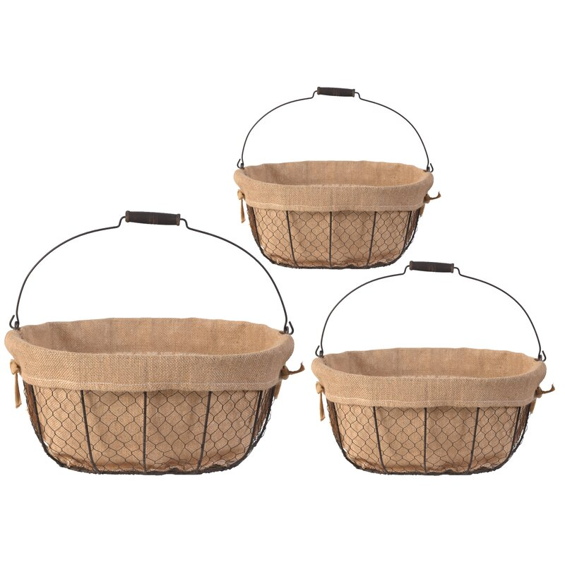 ABCHomeCollection Mesh Wire with Canvas 3 Piece Basket Set