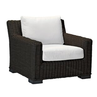 Rustic Wicker Patio Armchair with Cushions