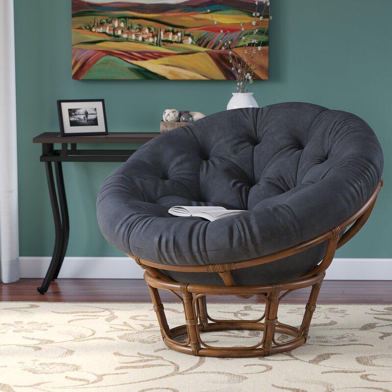 Decker Rattan Papasan Chair with Cushion Upholstery: Black