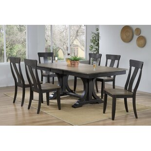 Therese 7 Piece Extendable Solid Wood Dining Set Canora Grey
