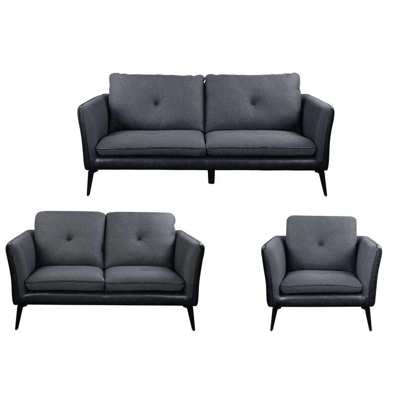 George Oliver Aldiana 3 Piece Standard Living Room Set Wayfair