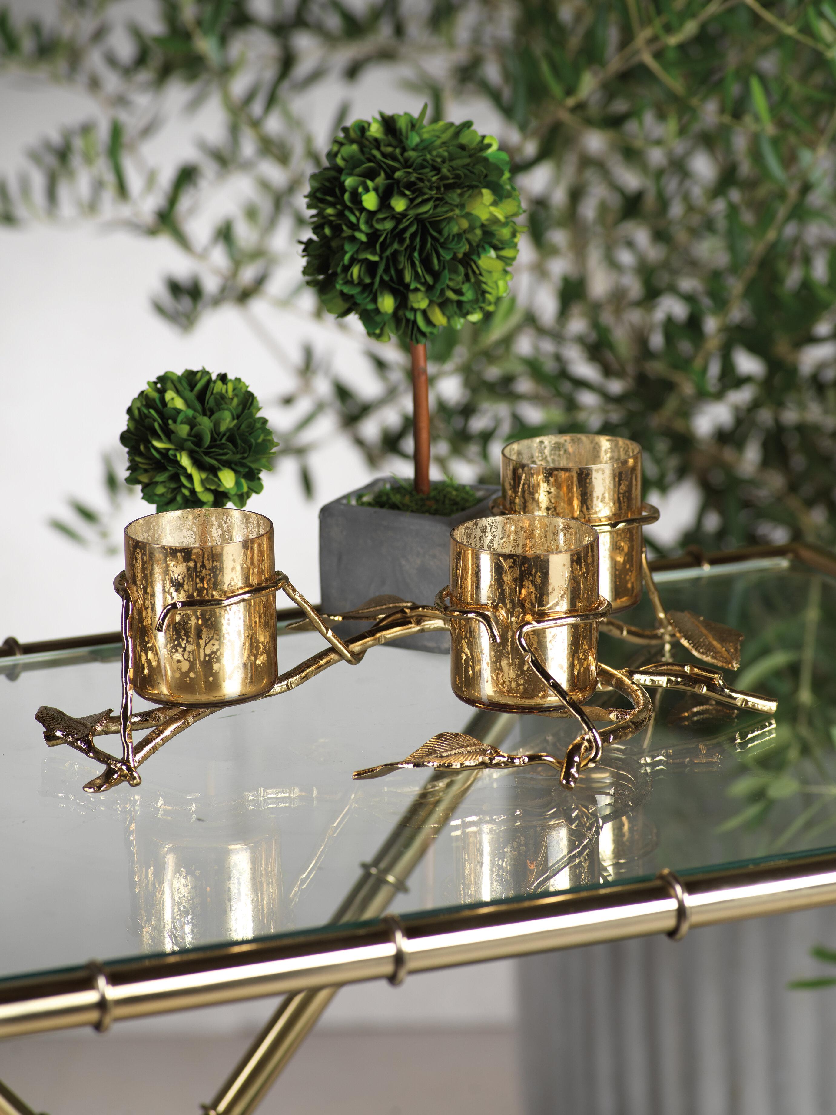 Le Prise 3 Tier Leaf Glass And Metal Votive Holder Wayfair