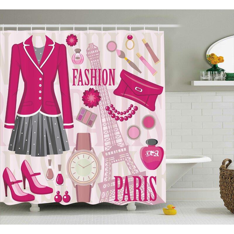Tracy Girly Fashion Theme Shower Curtain