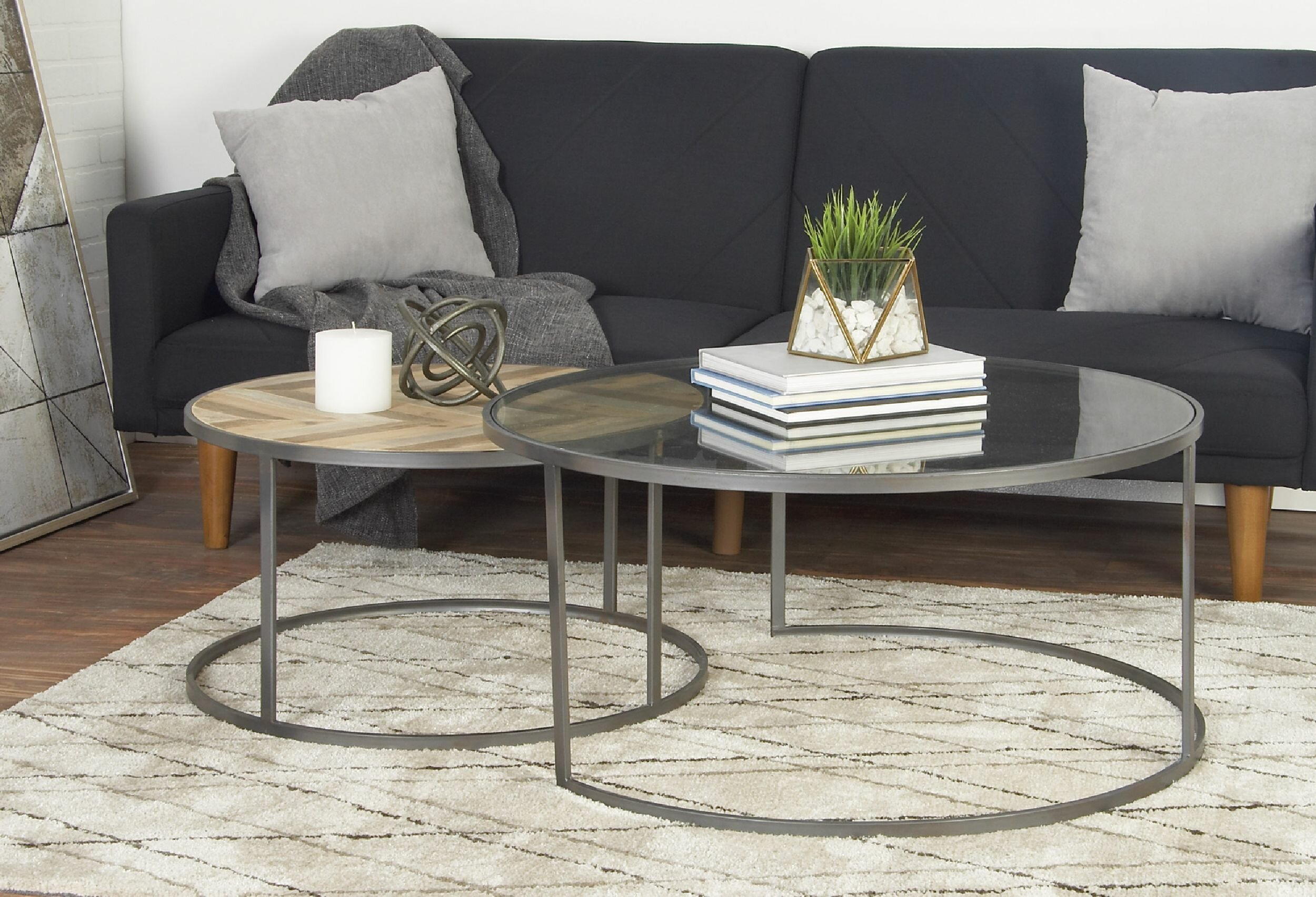 - Union Rustic Orkney Contemporary 2 Piece Coffee Table Set
