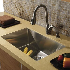 VIGO 32 inch Undermount Single Bowl 16 Gauge Stainless Steel Kitchen Sink with Romano Stainless Steel Faucet, Grid, Strain...