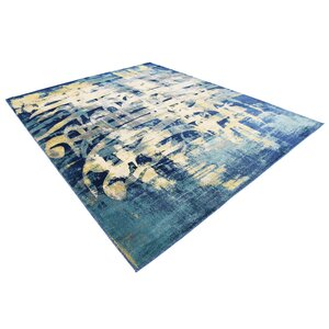 Jani Traditional Beige/Blue Abstract Area Rug