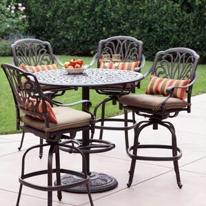 Marvelous Lebanon 5 Piece Bar Set With Cushions In High Top Patio Set