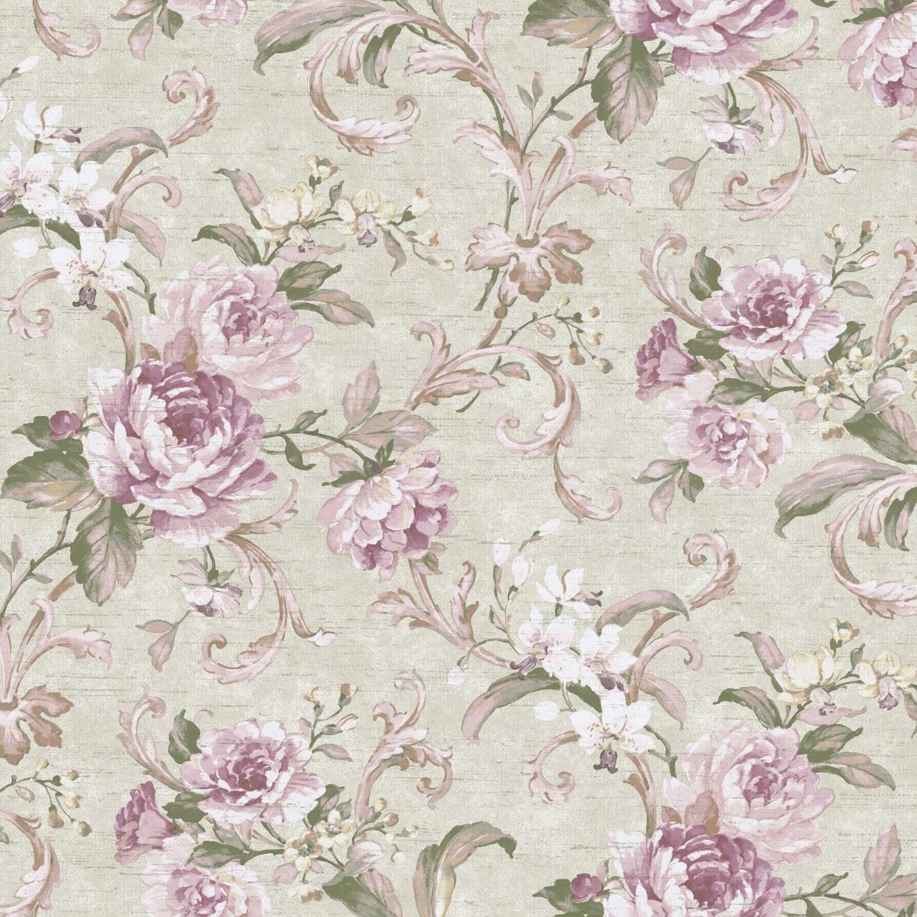York Wallcoverings Luminous Lavender Floral Swirl Wallpaper Roll