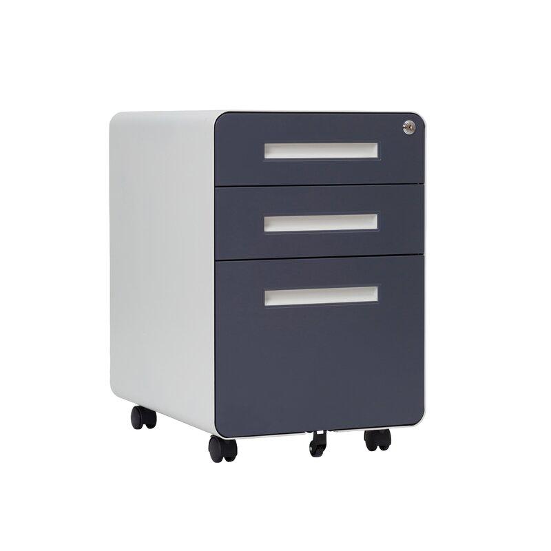 Inbox Zero 3 Drawer Mobile Vertical Filing Cabinet Wayfair