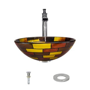 Read Reviews Glass Circular Vessel Bathroom Sink with Faucet ByMR Direct