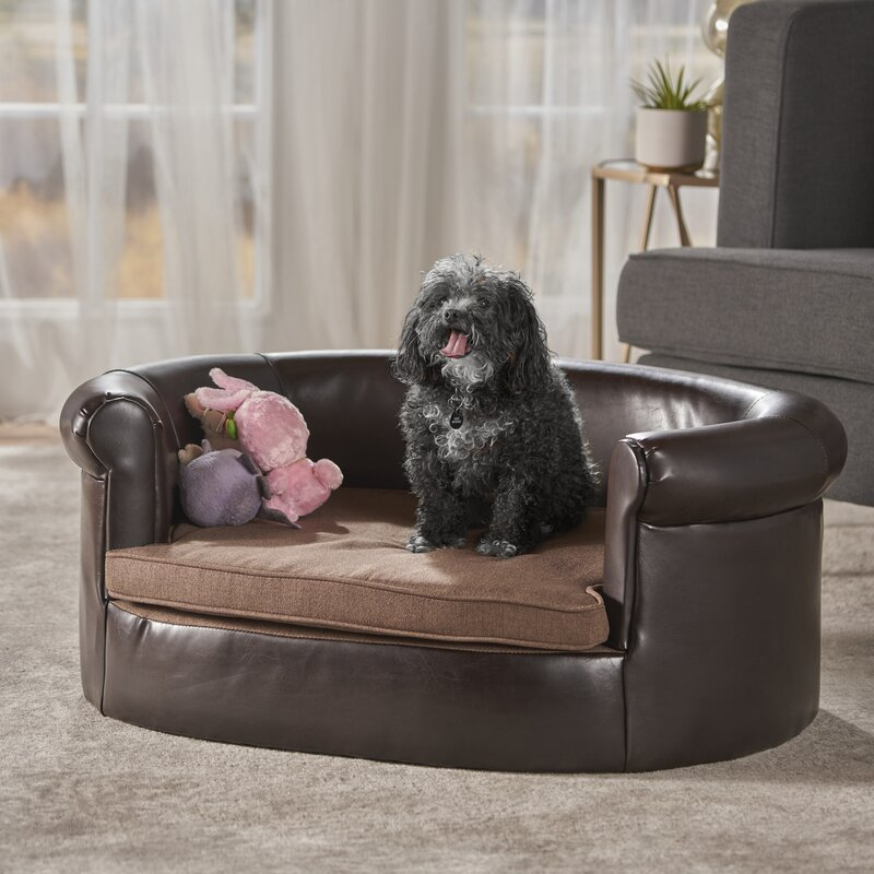 Brendon Two-Tone Light Brown and Dark Brown Fabric Pet Sofa Bed ...