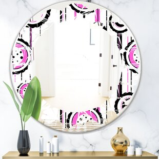 Leaves Circular Pattern I Modern Frameless Wall Mirror