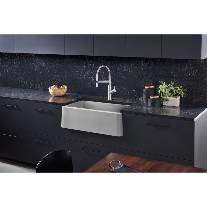 "Blanco Ikon 33"" L x 19"" W Farmhouse/Apron Kitchen Sink  Finish: Concrete Gray"