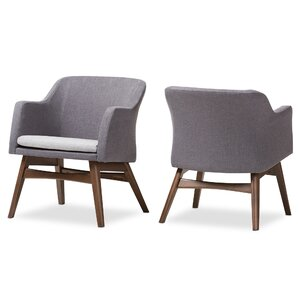 Clemson Mid-Century Modern Fabric Armchair (Set of 2)