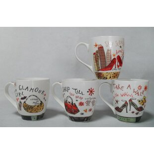 Taggart Assorted Shoe and Purse Designs Bone China Coffee Mug Set (Set of 4)
