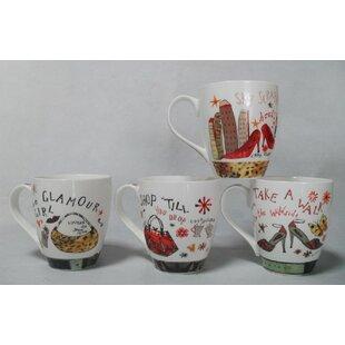 Taggart Assorted Shoe and Purse Designs Bone China Coffee Mug Set (Set of 4)