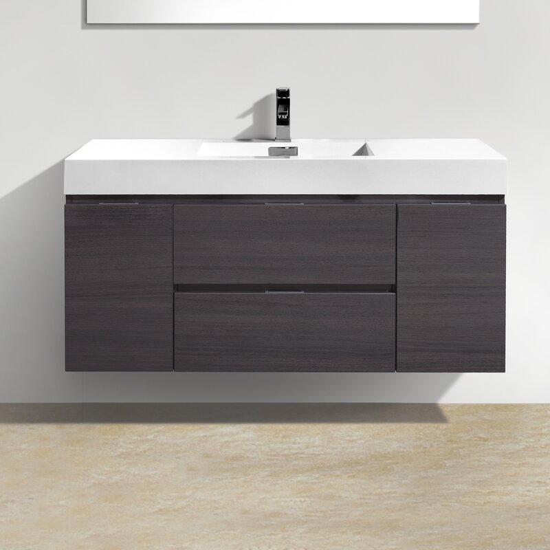 Tenafly 48  Single Wall Mount Modern Bathroom Vanity Set. Wade Logan Tenafly 48  Single Wall Mount Modern Bathroom Vanity