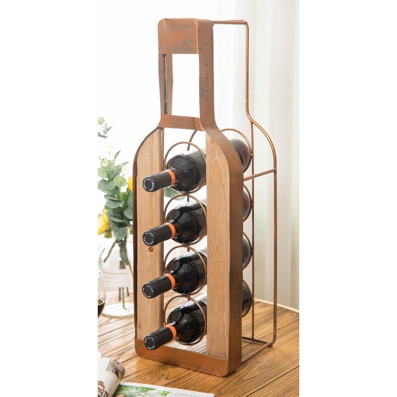 Red Barrel Studio Veans Bottle Shaped 4 Bottle Tabletop Wine Bottle Rack Wayfair