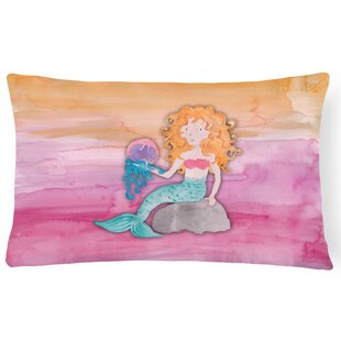 Tyra Blonde Mermaid Watercolor Lumbar Pillow by Zoomie Kids Best