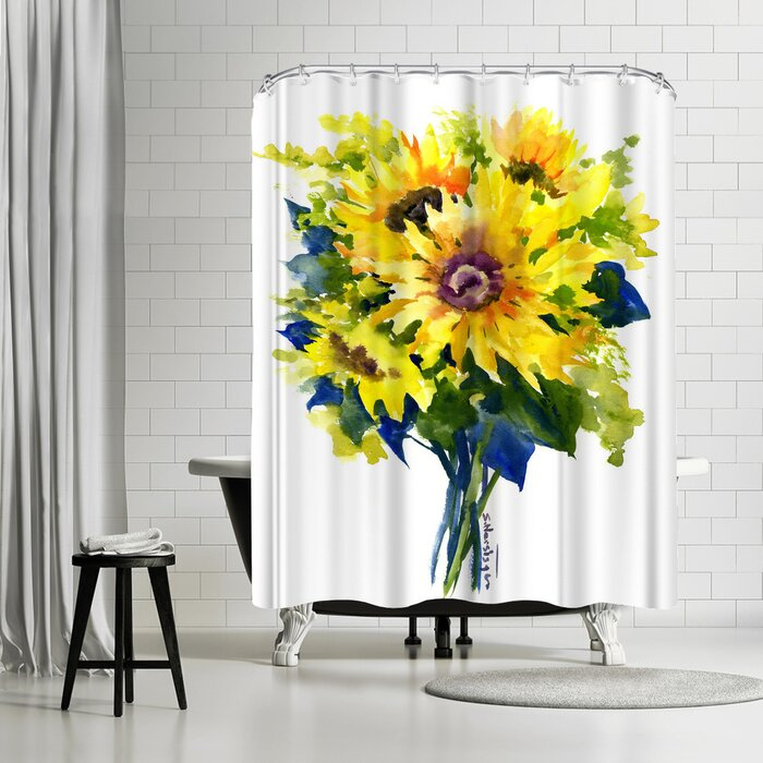 Sunflowers Canvas Bathroom Waterproof Fabric Shower Curtain Liner Bath Mat Set