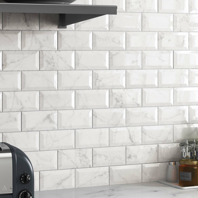 Elitetile Karra Carrara 3 X 6 Subway Tile In White Marble Reviews