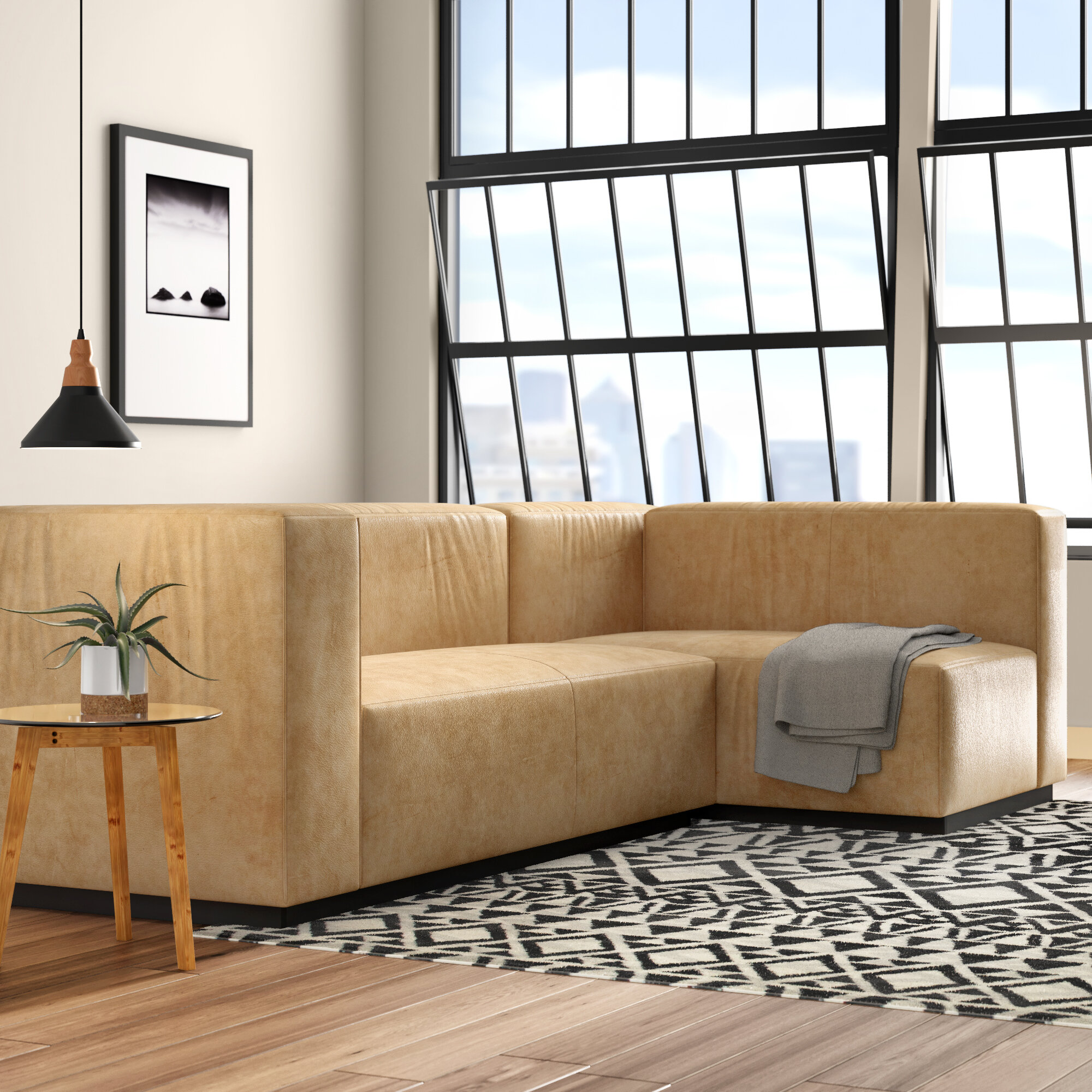 Cleon Small Leather Modular Sectional
