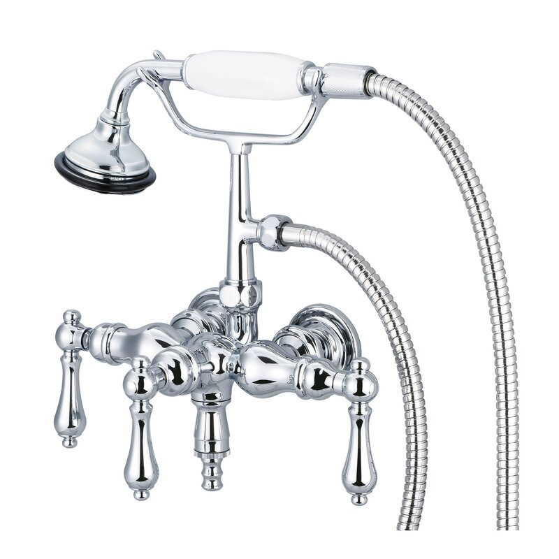 Dcor Design Stonington Triple Handle Wall Mounted Clawfoot Tub Faucet With Handshower Reviews Wayfair