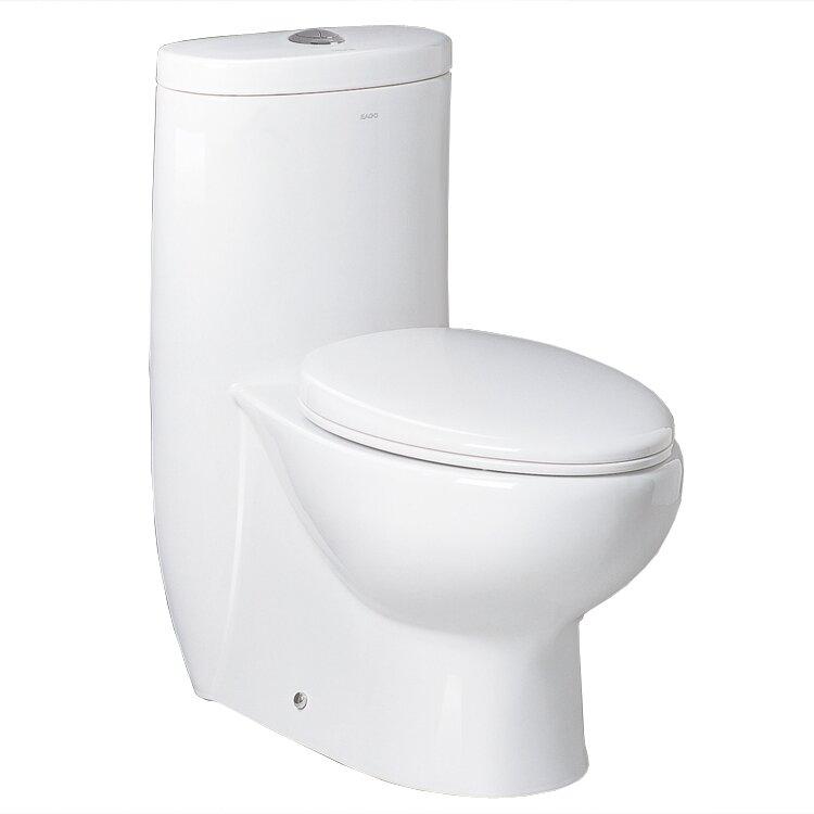 Ariel Bath Hermes Contemporary Dual Flush Elongated One Piece Toilet