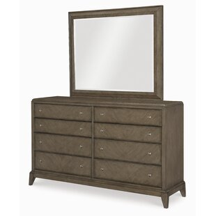 Whicker 8 Drawer Double Dresser With Mirror by Ophelia & Co. Today Sale Only