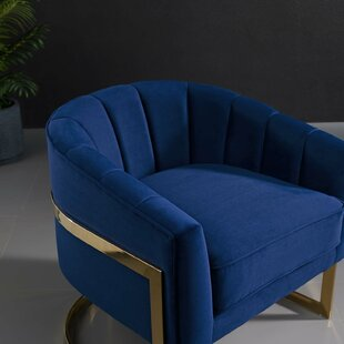Dempster Vertical Channel Tufted Performance Velvet Accent Barrel Chair