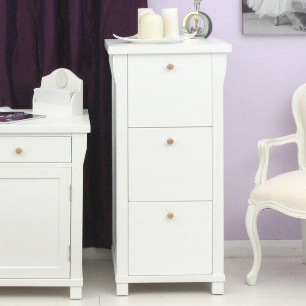 Baumhaus Hampton White Painted 3-Drawer Vertical Filing Cabinet ...