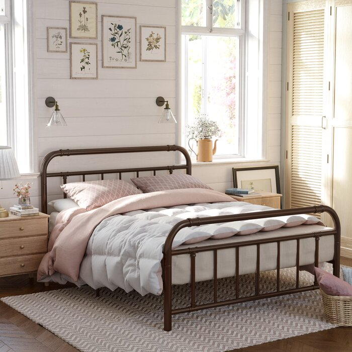 buy popular 651e0 1e5b9 Damaris Metal Bed Frame With Headboard And Footboard, Pipe Frame, No Box  Spring Needed Platform, Under-bed Storage, Industrial Vintage Style, Full  ...