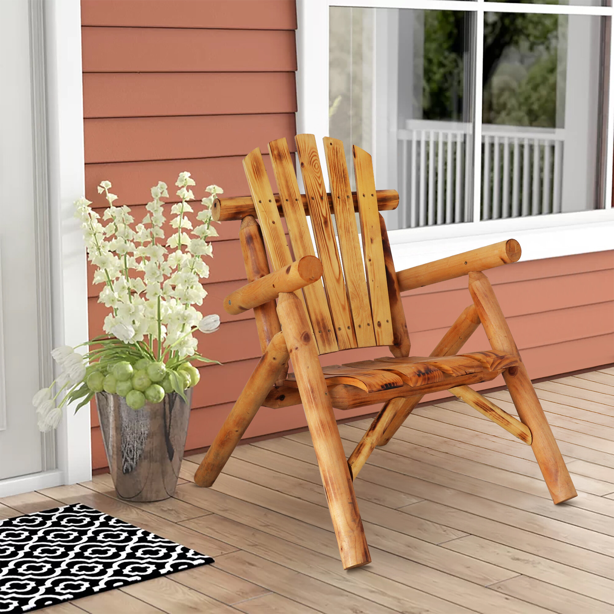 Zyaire Solid Wood Adirondack Chair
