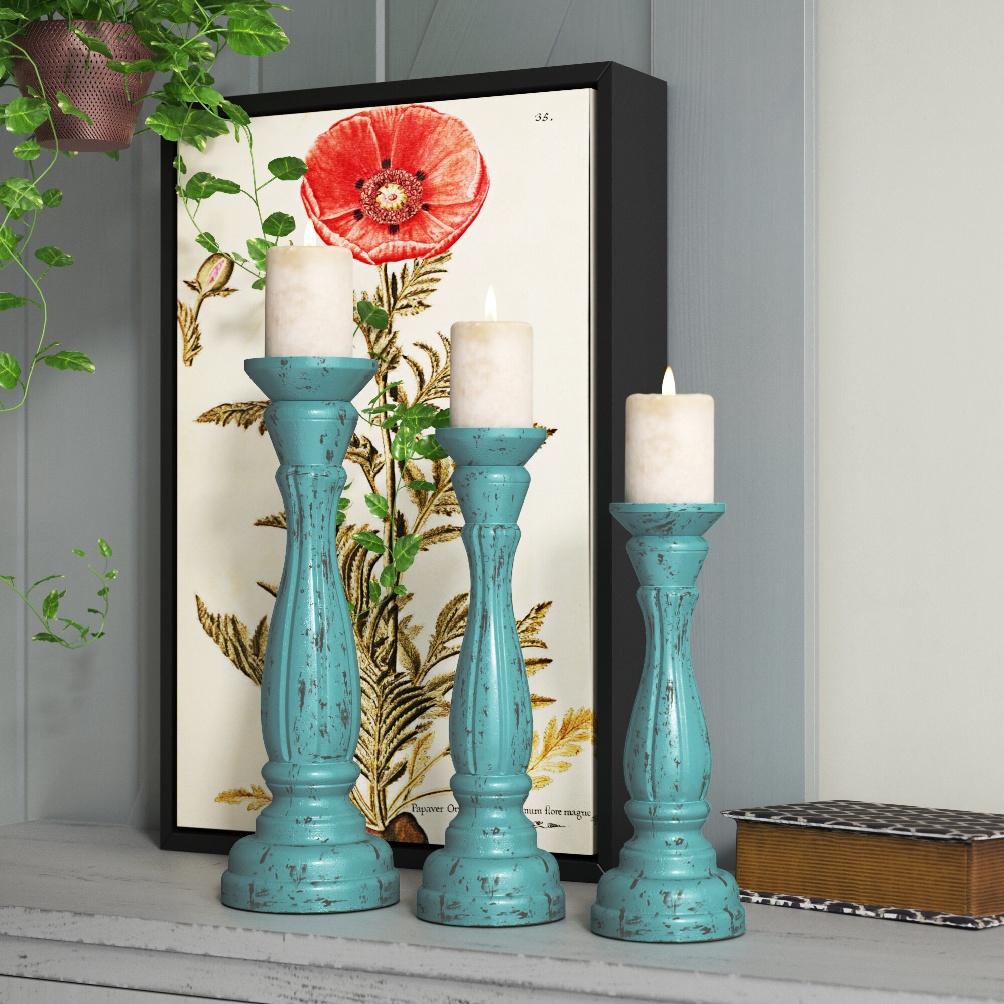 Three Posts 3 Piece Wood Tabletop Candlestick Set Reviews Wayfair