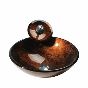 Price comparison Glass Circular Vessel Bathroom Sink with Faucet By Arsumo