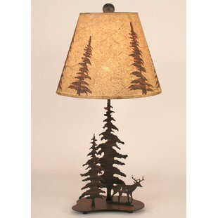 Gonzalez Deer and Feather Tree 25.5 Table Lamp